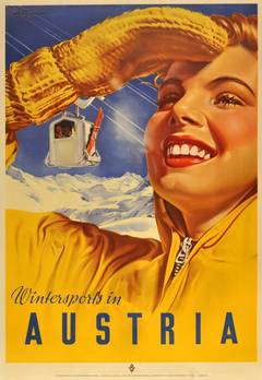 Original Vintage Skiing Poster - Winter Sports In Austria - By Paul Aigner, 1951