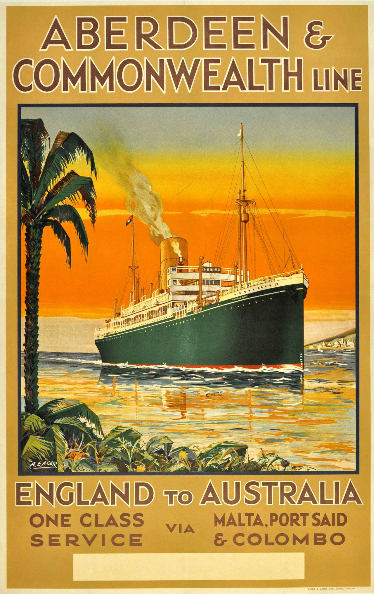 Wonderful A.E. Ager - Original 1930s Aberdeen and Commonwealth Cruise Line  IQ35