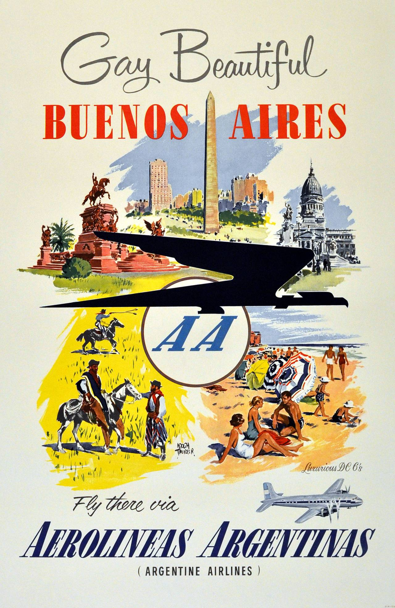 Original Vintage Travel Poster: Gay Beautiful Buenos Aires By Argentine Airlines