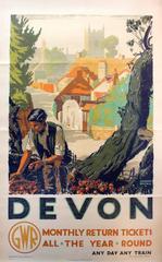 Original 1930s Great Western Railway GWR Poster - Devon - Any Day Any Train
