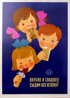 Original Vintage Soviet Russian Food Advertising Poster - Ice Cream For Children