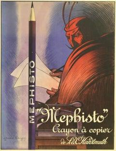 Original 1912 Advertising Poster For Mephisto L&C Hardtmuth (Koh-i-noor) Pencils