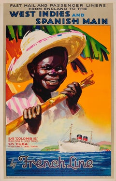 Original 1930s French Line Poster: England To West Indies & Spanish Main Cruises