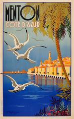 Original Vintage 1935 Travel Poster By Charles Beglia: Menton Cote d'Azur France
