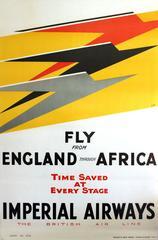 Set Of Three Original 1932 Art Deco Posters By Lee-Elliott For Imperial Airways