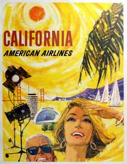 Original Vintage 1950s Travel Poster Advertising California By American Airlines