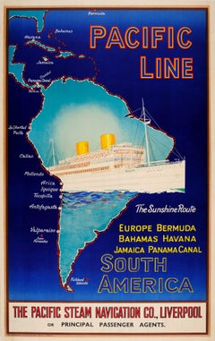 Original Pacific Line Cruise Ship Poster - The Sunshine Route To South America