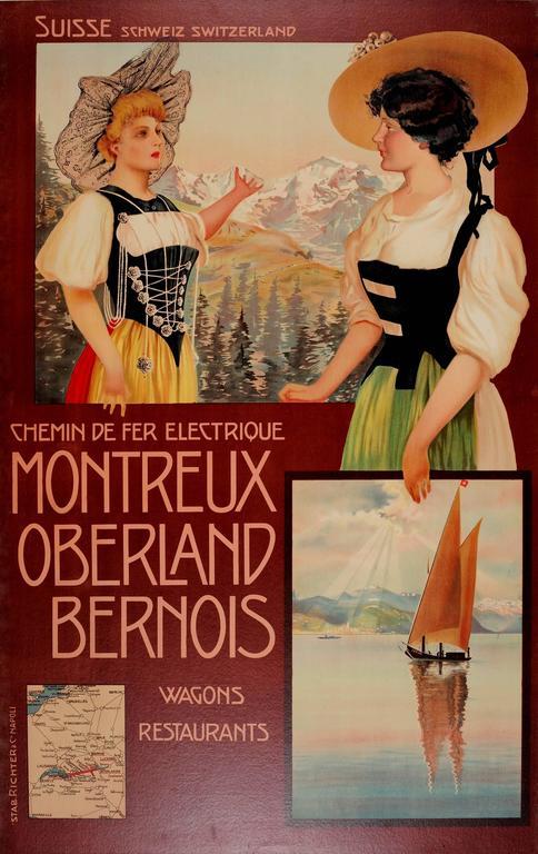 Original 1900s Montreux Oberland Bernois Railway Poster, Switzerland MOB Railway