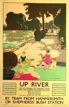 Original Vintage 1926 London Transport Poster: Up River The Joy Stream Of London