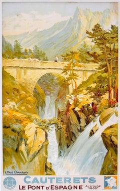 Original Vintage 1930s Travel Advertising Poster Cauterets Pont d'Espagne France