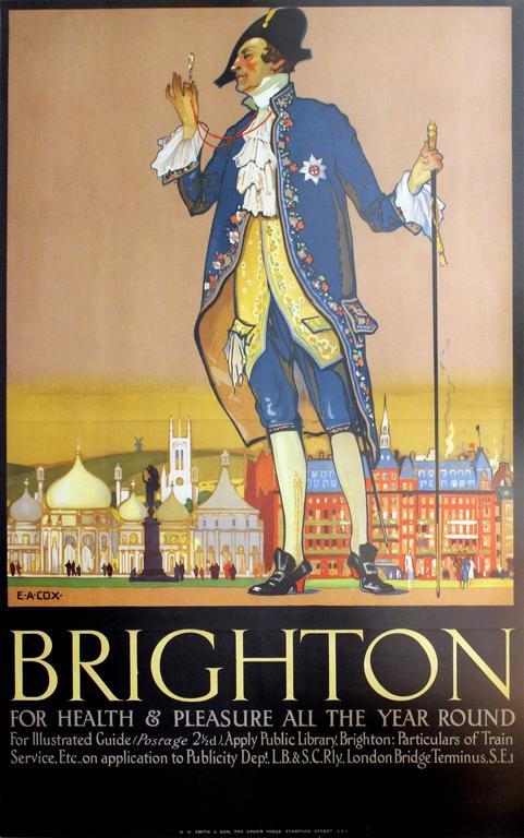 Original Vintage LB&SC Railway Poster By E A Cox: Brighton For Health & Pleasure