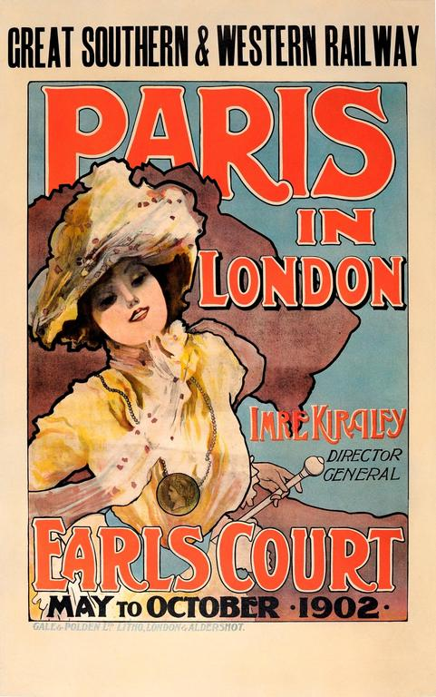 Original Art Nouveau Poster - Paris In London 1902 Imre Kiralfy - GS&W Railway