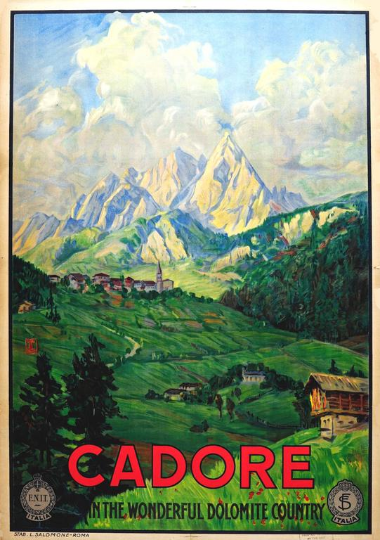 Original 1920s ENIT Travel Advertising Poster: Cadore - Dolomite Country - Italy