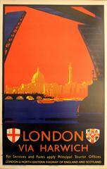 Original 1930s London & North Eastern Railway Poster - London Via Harwich LNER