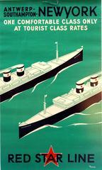 Original Art Deco Red Star Line Cruise Ship Poster: Antwerp Southampton New York