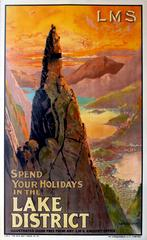 Original 1920s LMS Railway Poster - Spend Your holidays In The Lake District
