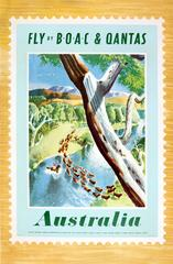 Original Vintage BOAC Travel Advertising Poster - Fly BOAC & Qantas - Australia