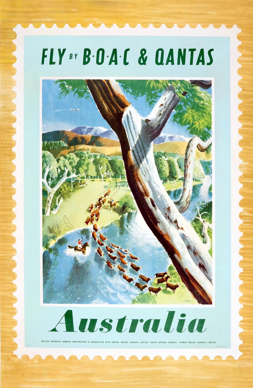Xenia Original Vintage Boac Travel Advertising Poster