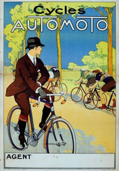 Original Vintage 1920s Poster For Automoto Motos - Bicycles & Motorcycles France