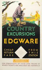 Original Vintage 1926 London Underground Poster - Country Excursions - Edgware