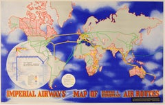 Original Vintage Imperial Airways Poster - Map Of Empire And European Air Routes