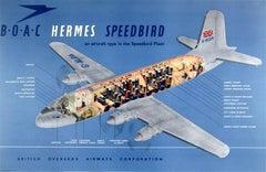 Original Vintage Travel Advertising Poster: BOAC Hermes Speedbird Aircraft Fleet