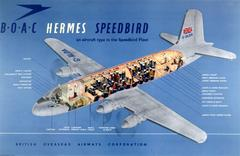 Original Vintage Travel Advertising Poster: BOAC Hermes Speedbird Aircraft Fleet