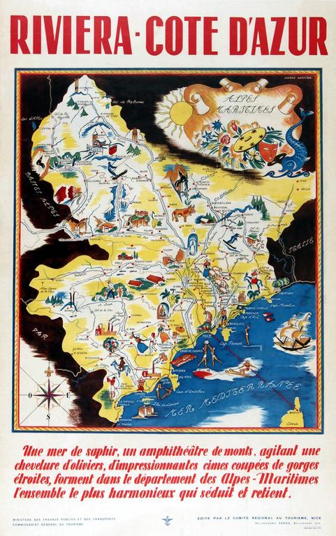 Simone Garnier Print - Original Vintage 1930s Travel Advertising Poster For The Riviera – Cote d'Azur
