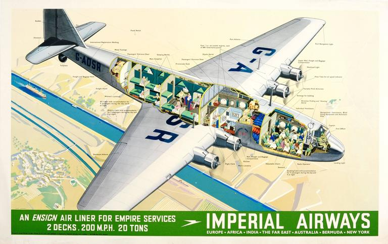 James Gardner Print - Original 1937 Imperial Airlines Poster - An Ensign Air Liner for Empire Services