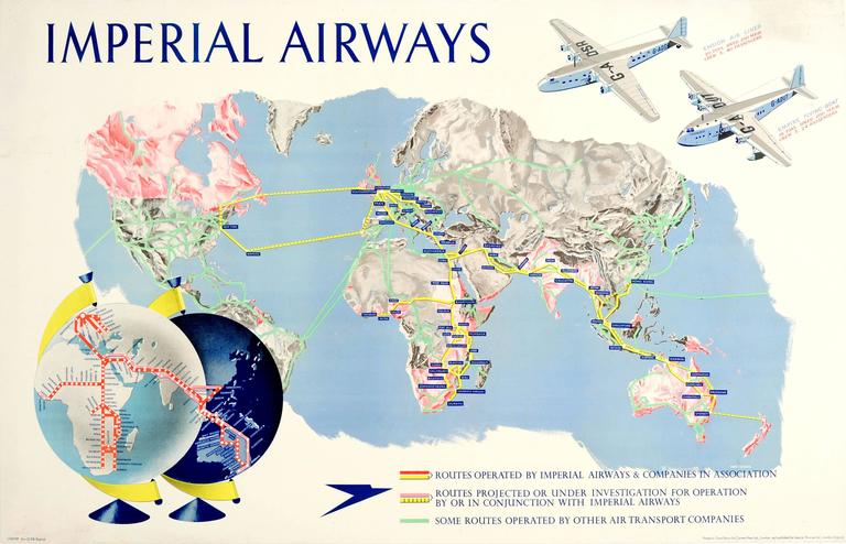 Original 1938 Imperial Airways Travel Advertising Poster - Speedbird Route Map