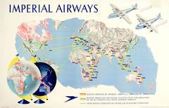 Original 1938 Imperial Airways Travel Advertising Poster - Speedbird Route Map