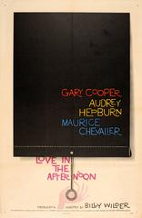 Original Saul Bass Movie Poster: Love In The Afternoon Gary Cooper Audrey Hepurn