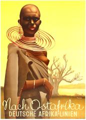 Original 1930s Deutsche Afrika-Linien Travel Advertising Poster - To East Africa