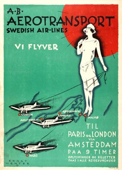 Original Art Deco Travel Advertising Poster: AB Aerotransport Swedish Air-Lines