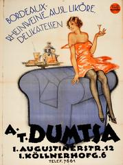Original 1920s Advertising Poster For A.T. Dumtsa Wine And Delicatessen Products