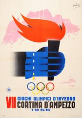 Original Vintage 1956 Winter Sport Poster - VII Olympic Games - Cortina Italy