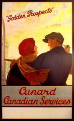 Original 1930s Cruise Ship Poster - Golden Prospects - Cunard Canadian Services