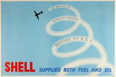 Original 1930s Poster: 9½ Miles Up World Height Record By RAF - Shell Oil & Fuel