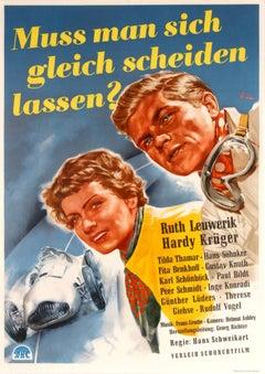 """Original Vintage German Movie Poster For """"Muss Man sich gleich scheiden lassen?"""""""