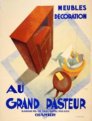Large Original 1920s Art Deco Furniture Advertising Poster For Grand Pasteur