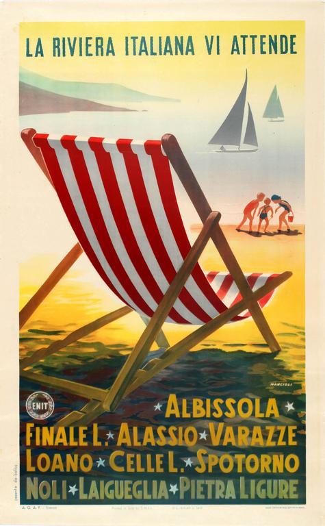 Original Vintage ENIT Travel Advertising Poster - The Italian Riviera Awaits You