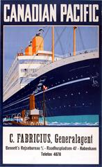 Original Vintage 1920s Cruise Ship Travel Advertising Poster - Canadian Pacific