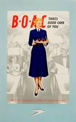 Original Vintage Travel Advertising Poster - BOAC Takes Good Care Of You