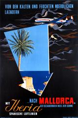 Original Vintage Travel Poster Advertising Iberia To Mallorca Spain For Sunshine