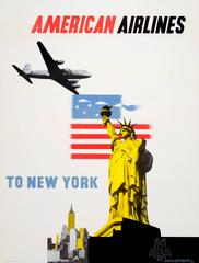 Original Vintage Travel Poster By Kauffer Advertising American Airlines New York