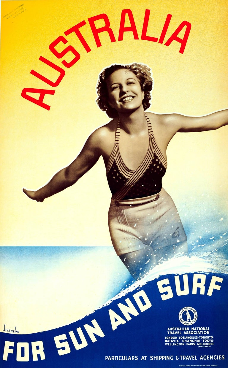 Gert Hugo Emmanuel Sellheim Print - Original Vintage 1930s Travel Advertising Poster – Australia For Sun And Surf