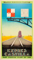 Original 1930s Art Deco Travel Poster Advertising The Spanish Northern Railway
