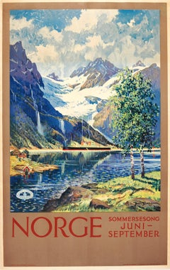 Original Vintage 1920s Railway Travel Advertising Poster: Norway - Summer Song