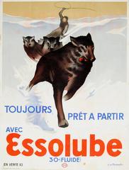 Original Vintage 1930s Advertising Poster For Essolube Engine Oil - Dog Sledge