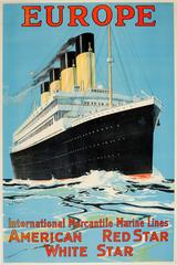 Original 1910s Cruise Ship Poster: Europe IMM Lines American Red Star White Star